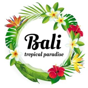 Grinalda de flores e plantas tropicais