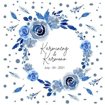 Grinalda de flores em aquarela azul