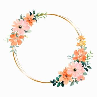 Grinalda de flores em aquarela com círculo de ouro