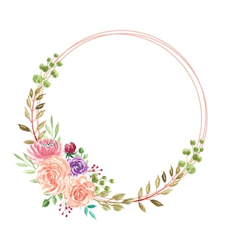 Grinalda de flores em aquarela de verão linda