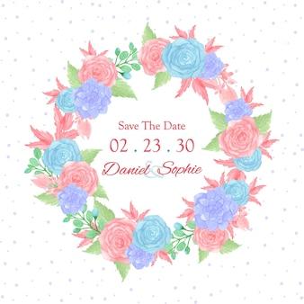 Grinalda de flores multiuso com rosas azuis e cor de rosa
