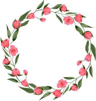 Grinalda de flores pintadas à mão carmesim