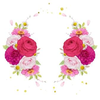 Grinalda de flores rosa escuro