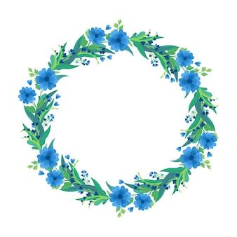 Grinalda de flores silvestres azuis, composição floral botânica.