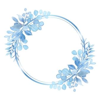 Grinalda de folha de luz azul em aquarela com círculo