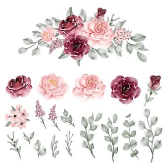 Grinalda de folhas de flor rosa bordô e rosa rosa isolada