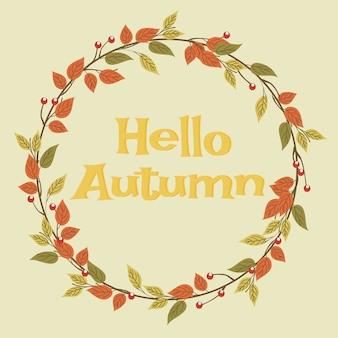 Grinalda de folhas de outono e olá outono.