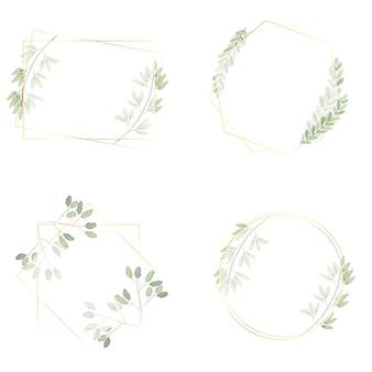 Grinalda de folhas verdes em aquarela com coleção de moldura dourada de luxo