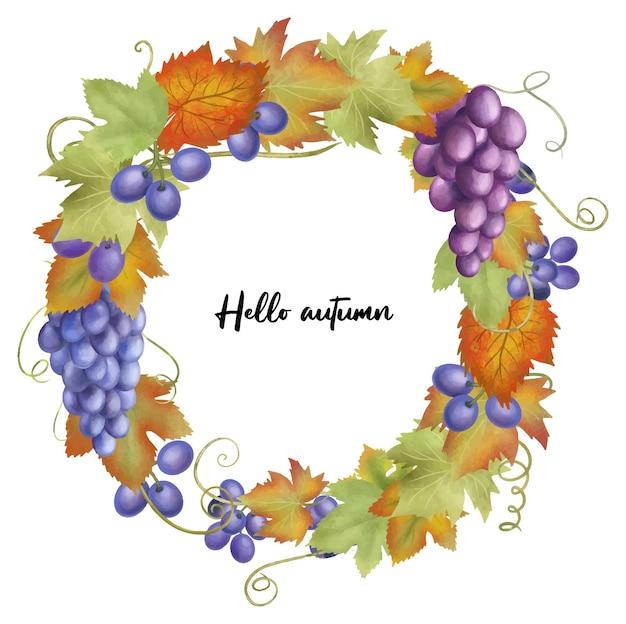 Grinalda de frutas de outono de uvas azuis e roxas folhas de uvas vermelhas e verdes