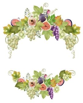 Grinalda de frutas de uvas verdes e roxas, folhas de figos e flores