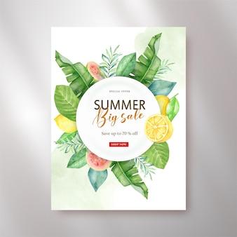 Grinalda de frutas tropicais e aquarela floral