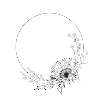Grinalda de girassol. ilustração de mão desenhada.