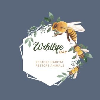 Grinalda de insetos e pássaros com abelha, folhas ilustração aquarela.