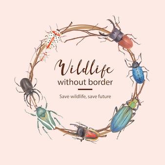 Grinalda de insetos e pássaros com ilustração em aquarela besouro e ramo.