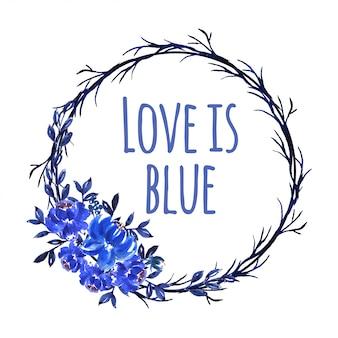 Grinalda de linda flor aquarela azul