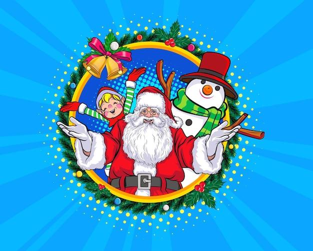 Grinalda de natal de papai noel com boneco de neve e elf feliz natal pop art estilo de quadrinhos.
