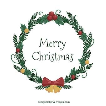 Grinalda de natal desenhada a dedo em branco