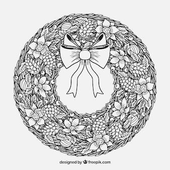 Grinalda de natal desenhada a mão em preto e branco