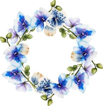 Grinalda de orquídeas azuis em aquarela