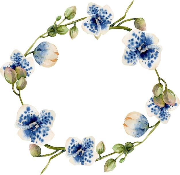 Grinalda de orquídeas manchadas azul aquarela