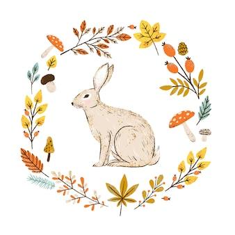 Grinalda de outono com folhas que caem, frutas e cogumelos. moldura redonda com coelho.