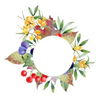 Grinalda de outono de ramos e folhas de frutas silvestres use para decoração
