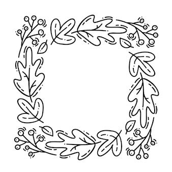 Grinalda de outono monoline de vetor. quadro de buquê com folhas, frutos e outros elementos outonais