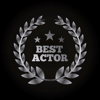 Grinalda de prata de folhas com conceito de prêmios de atores