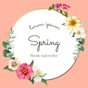 Grinalda de primavera quadro flores frescas, cartão de decoração com jardim colorido floral, casamento, convite