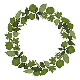 Grinalda de quadro circular de folhas. mão-extraídas ilustração do estilo dos desenhos animados. lindo quadro para casamento, férias ou design de cartão