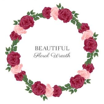 Grinalda de quadro de círculo de flor rosa