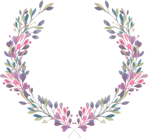 Grinalda de ramos de roxo, rosa e verdes em aquarela