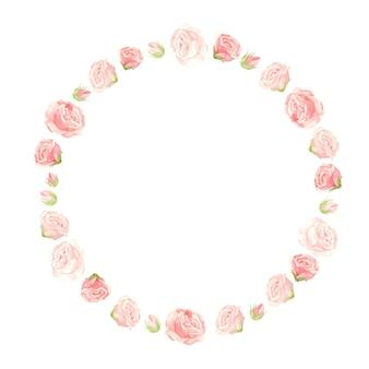 Grinalda de rosas cor de rosa com botões de flores e pétalas