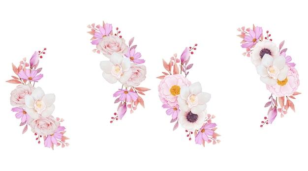 Grinalda de rosas rosa orquídea e anêmona