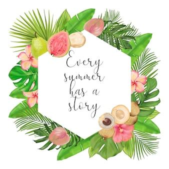 Grinalda de verão tropical com frutas, flores, folhas