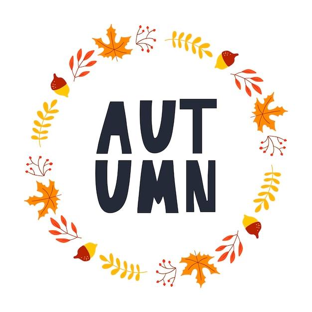 Grinalda de vetor de folhas de outono e frutas em estilo aquarela. linda coroa redonda de folhas amarelas e vermelhas, bolotas, frutos, cones e ramos. decoração para convites, cartões, cartazes.