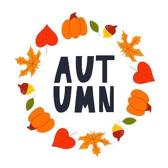 Grinalda de vetor de folhas de outono e frutas em estilo aquarela.