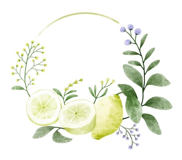 Grinalda decorada com ramos. flores e folhas são decoradas com limão.