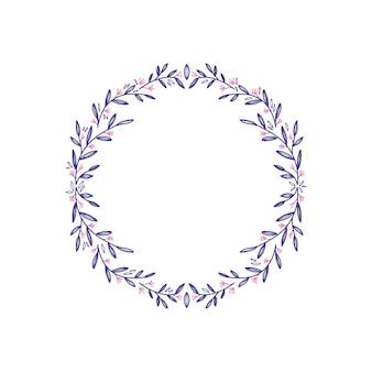 Grinalda decorativa de flores de lavanda isolada no branco
