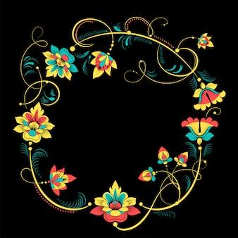 Grinalda decorativa floral em estilo vintage