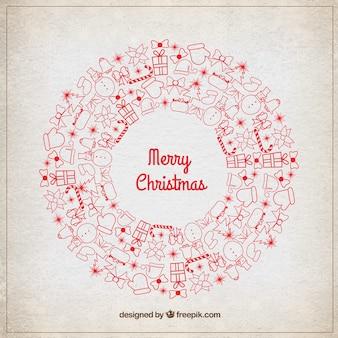 Grinalda do natal com detalhes vermelhos