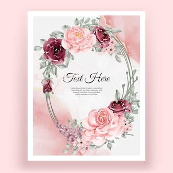 Grinalda elegante com folhas de flores cor de vinho e rosa