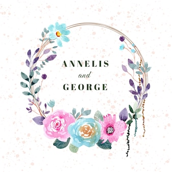 Grinalda floral aquarela de distintivo de casamento bonito