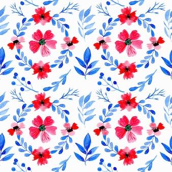 Grinalda floral aquarela de padrão sem emenda