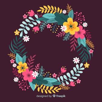 Grinalda floral colorida de mão desenhada