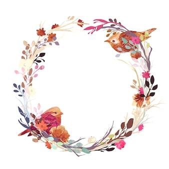 Grinalda floral com pássaros
