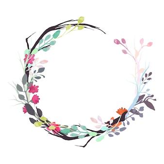 Grinalda floral de aquarela