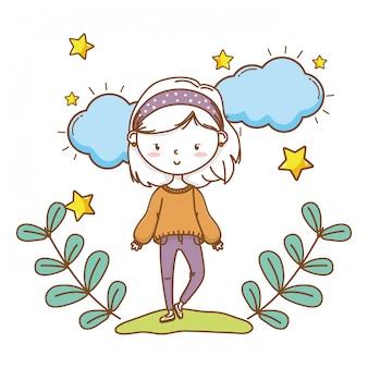 Grinalda floral de menina elegante bonito dos desenhos animados