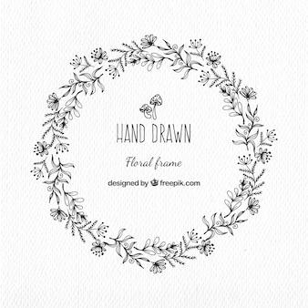 Grinalda floral desenhado mão no estilo do vintage