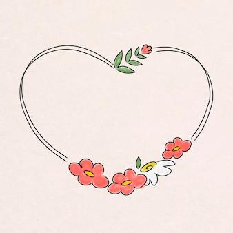 Grinalda floral em forma de coração fofa
